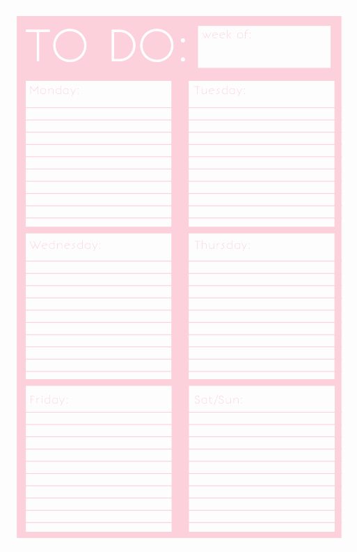 Weekly todo List Template Elegant 40 Printable to Do List Templates