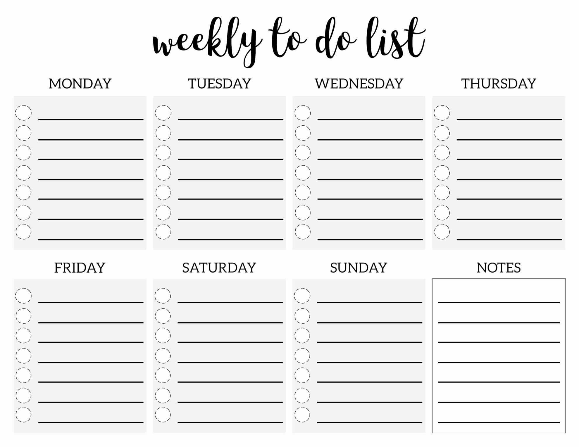 Weekly todo List Template Lovely Weekly to Do List Printable Checklist Template Paper