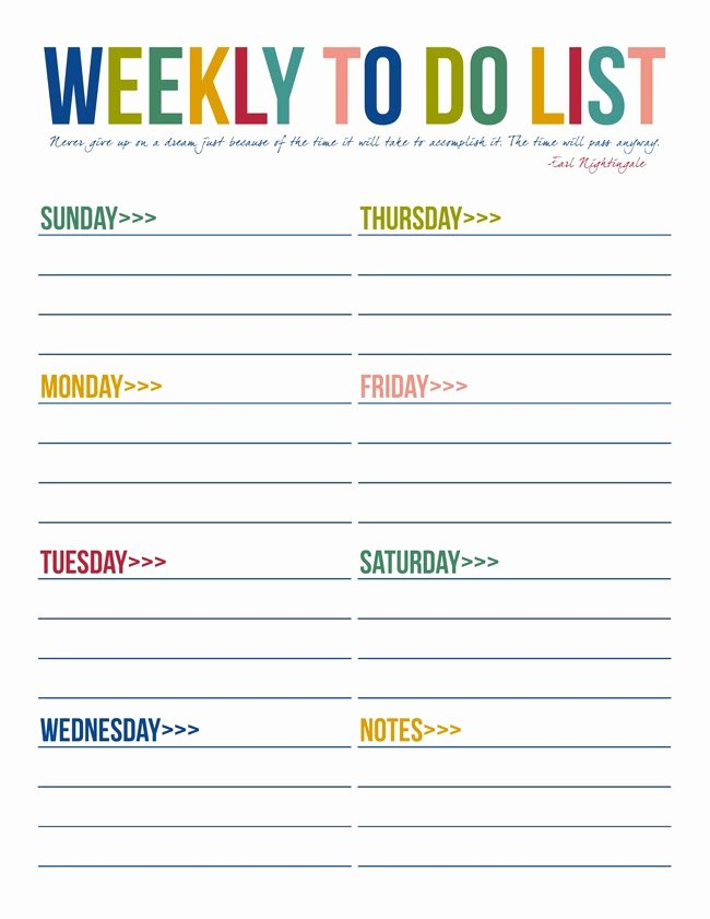 Weekly todo List Template Luxury 40 Printable to Do List Templates