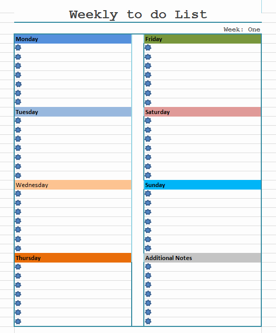 Weekly todo List Template New Weekly to Do List Template Blue Layouts
