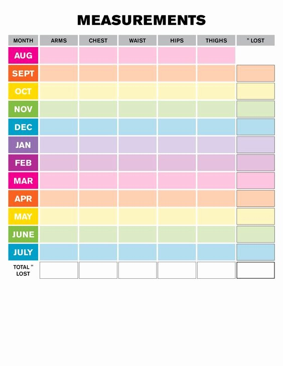Weight Loss Measurement Chart Best Of Weight Loss Monthly Measurement Chart