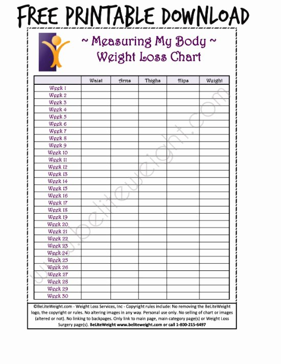 Weight Loss Measurement Chart Fresh Keeping Track Your Weight Loss Tips & Free Printable