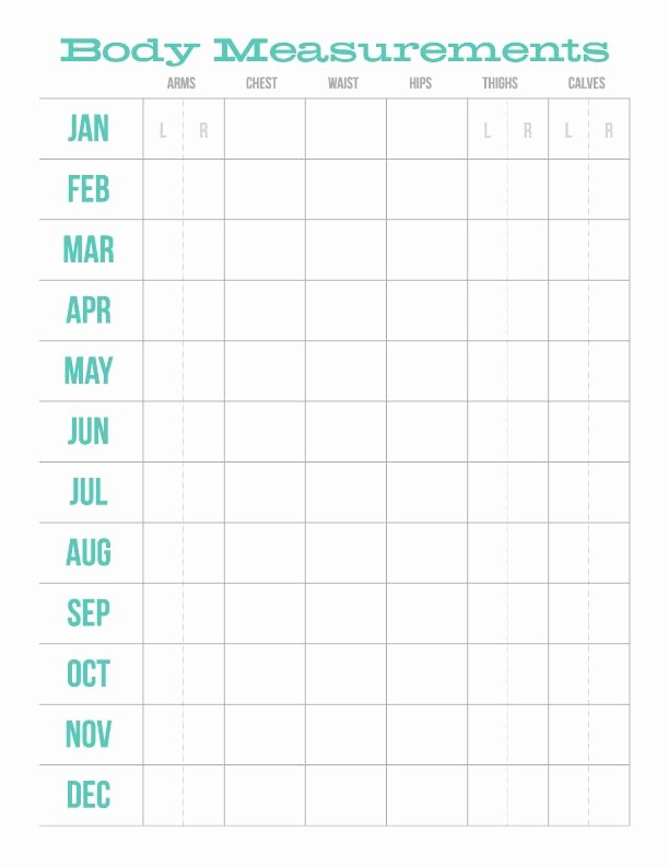 Weight Loss Measurement Chart Lovely Monthly Body Measurements Chart