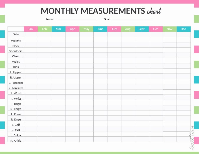 Weight Loss Measurement Chart New Medical Binder My Measurements Chart Sarah Titus