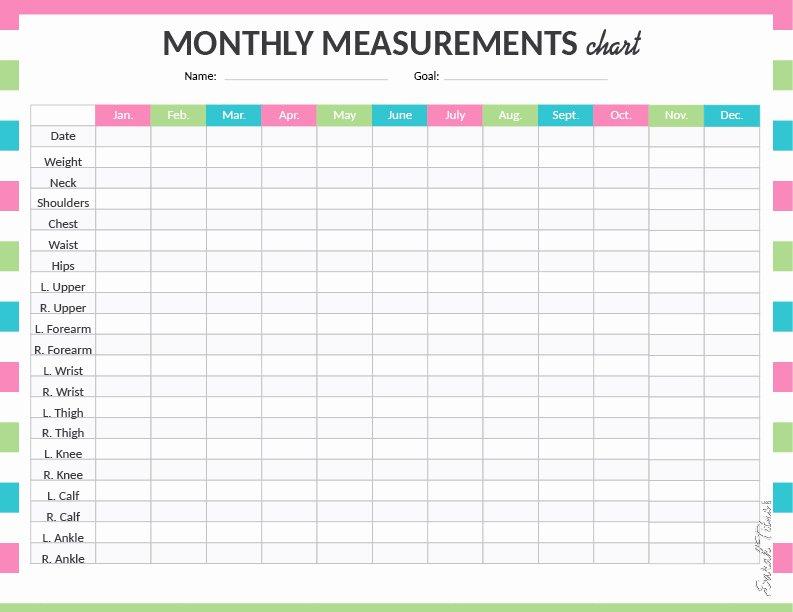 Weight Loss Measurement Chart New Medical Binder My Measurements Chart Sarah Titus