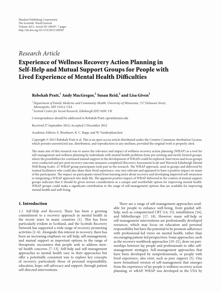 Wellness Recovery Action Plan Pdf Elegant Pdf Experience Of Wellness Recovery Action Planning In