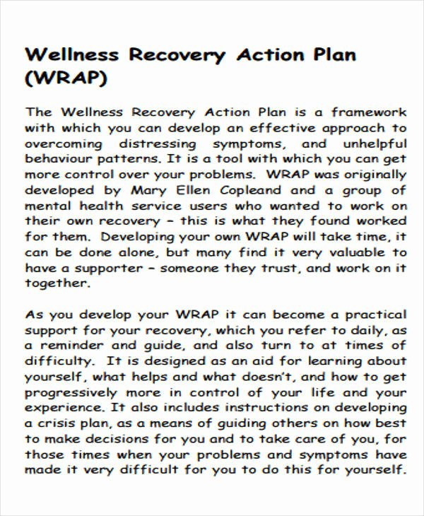 Wellness Recovery Action Plan Pdf Inspirational 9 Recovery Plan Samples & Templates In Pdf