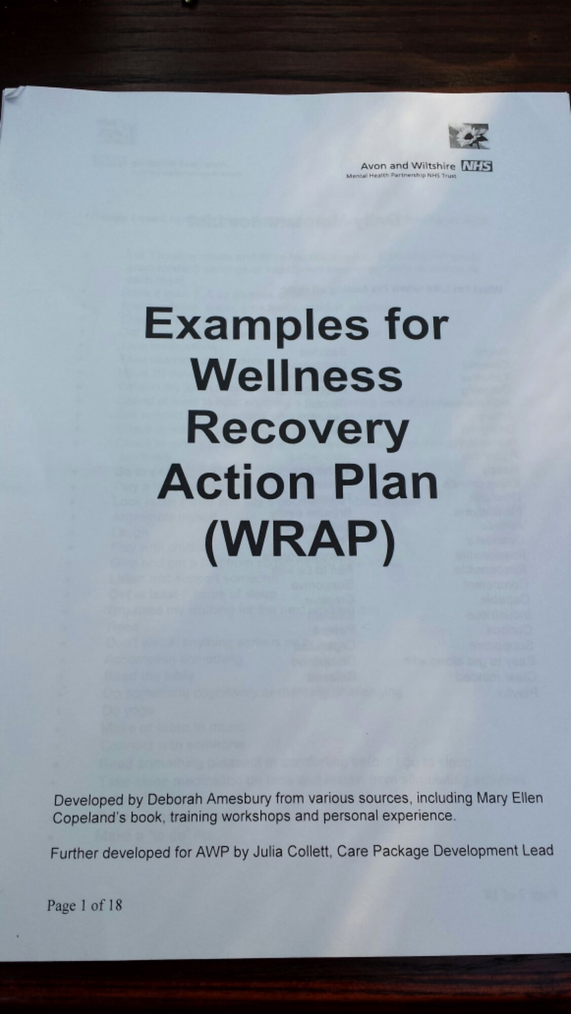 sample wrap wellness recovery action plan