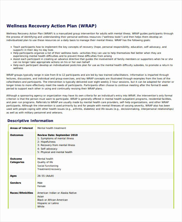 Wellness Recovery Action Plan Pdf Unique 11 Wellness Recovery Action Plan Templates Pdf Word
