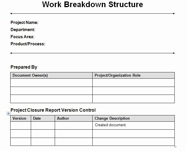 Work Breakdown Structure Template Excel Best Of Work Breakdown Structure Template