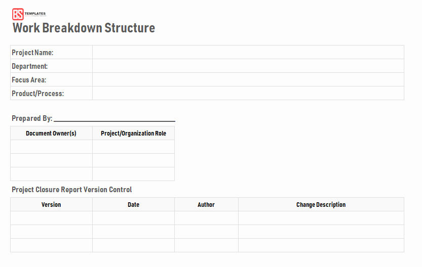 Work Breakdown Structure Template Excel Inspirational Work Breakdown Structure Wbs Template