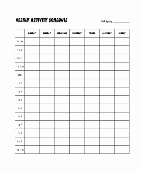 Work Out Schedule Templates Awesome Blank Workout Schedule Template 8 Free Word Pdf format