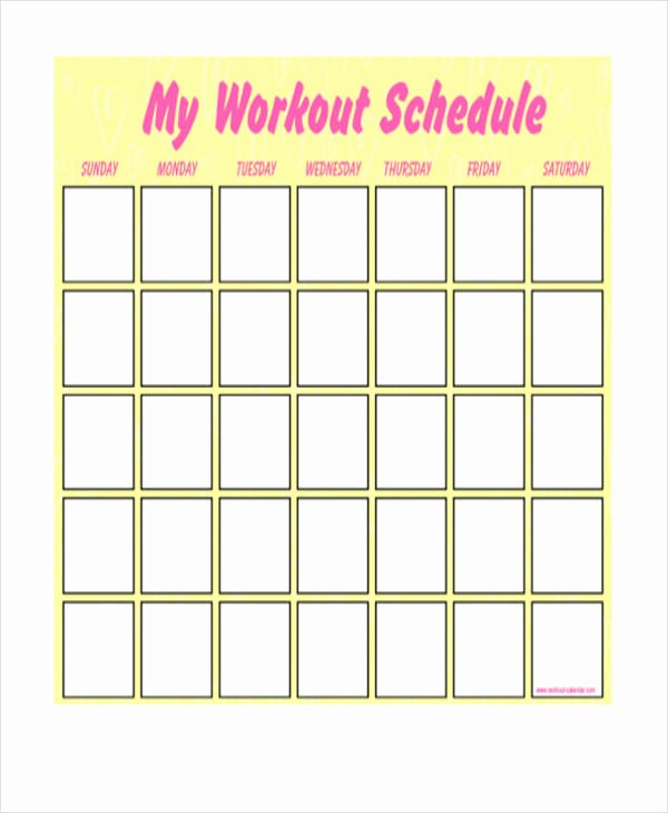 Work Out Schedule Templates Elegant Blank Workout Schedule Template 8 Free Word Pdf format