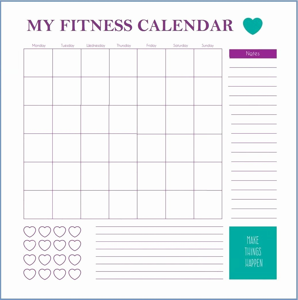 Work Out Schedule Templates Elegant Fitness Calendar Template