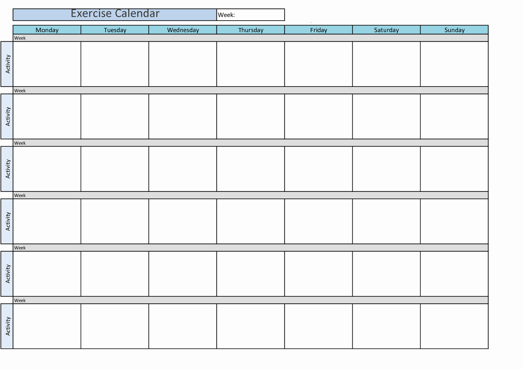 Work Out Schedule Templates Elegant Printable Workout Calendar