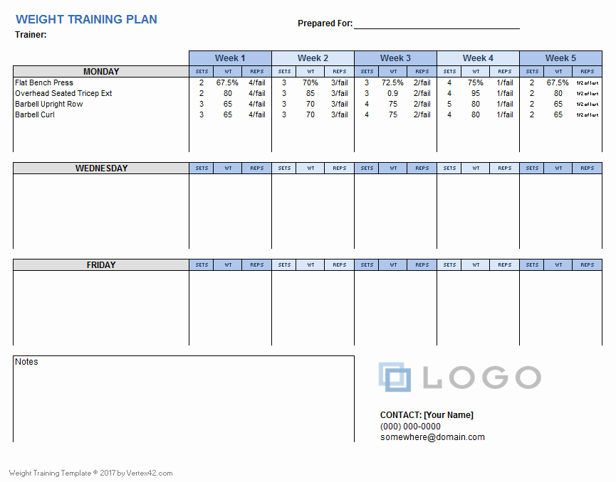 Work Out Schedule Templates Lovely Weight Training Plan Template for Excel