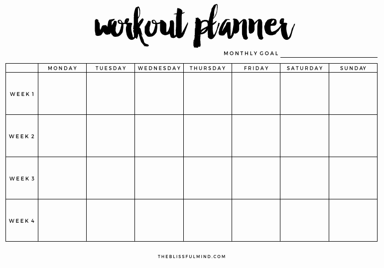 Work Out Schedule Templates Lovely Workout Planner Printable