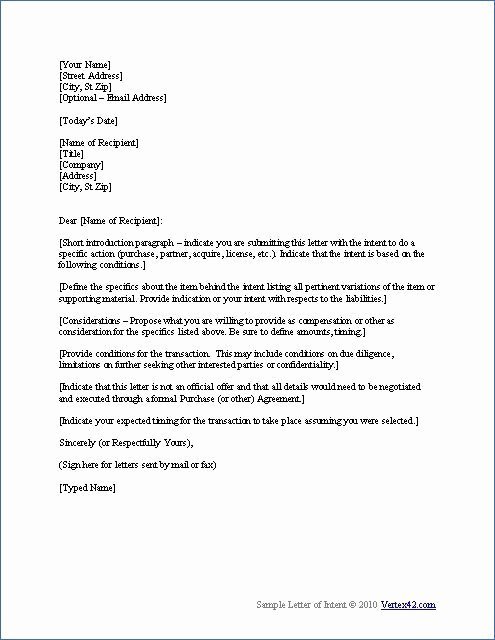 Writing A Letter Of Intent Lovely Free Letter Of Intent Template