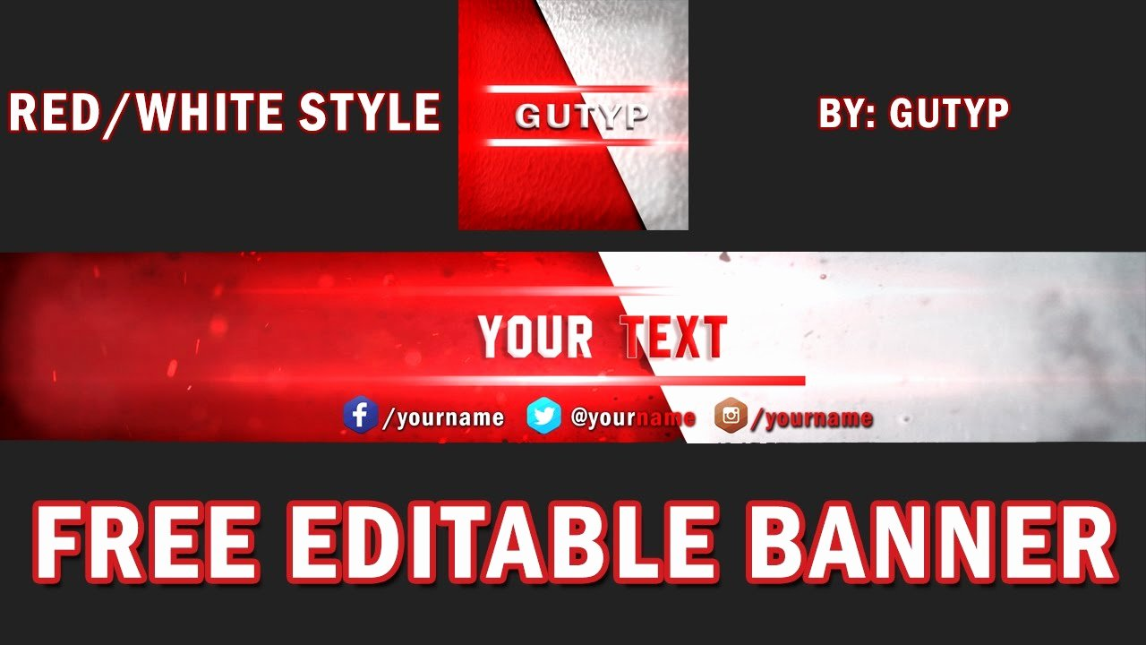 Youtube Banner Template No Text Best Of Youtube Banner Template Simple Red White Gratis Psd