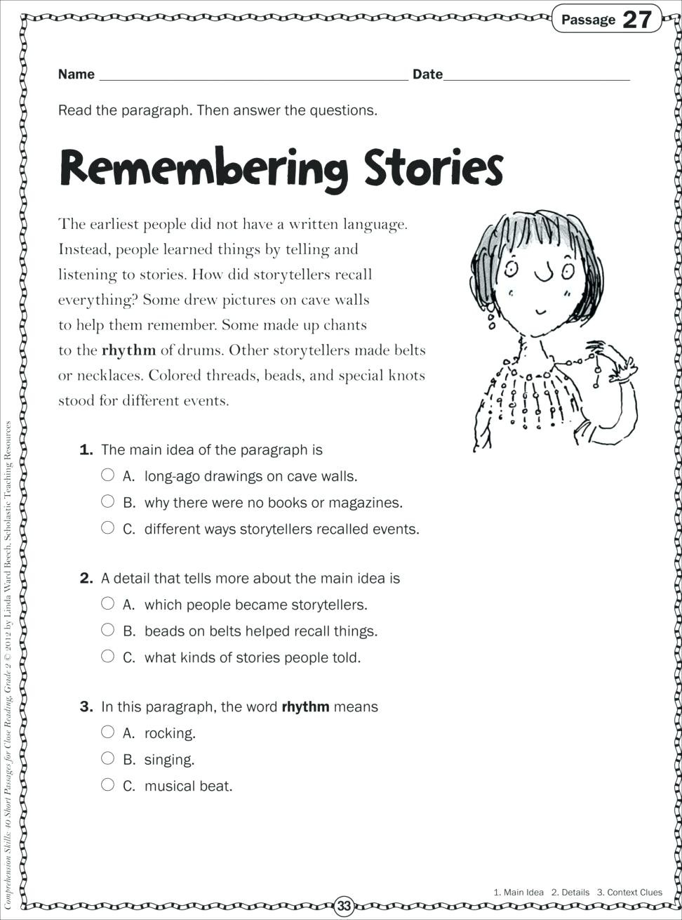 1st Grade Comprehension Worksheets Free Context Clues Worksheets 1st Grade Grade Reading Worksheet