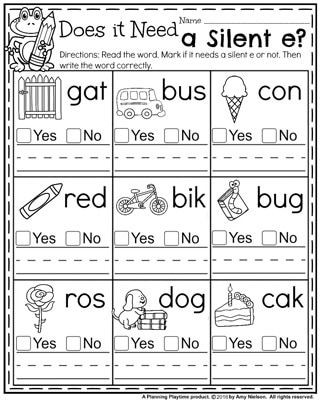 1st Grade Phonics Worksheets Back to School First Grade Worksheets