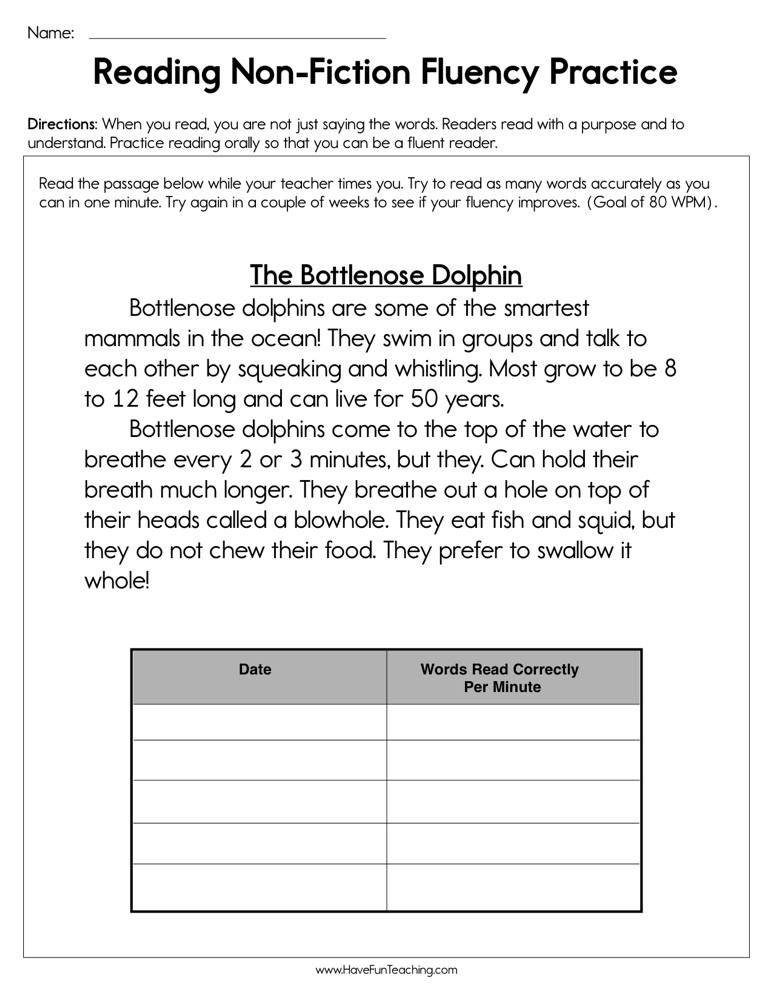 1st Grade Reading Fluency Worksheets Reading Non Fiction Fluency Practice Worksheet