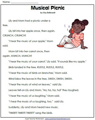 1st Grade Reading Worksheets Printable 1st Grade Reading Prehension Printables
