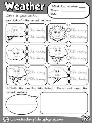 1st Grade Weather Worksheets Funtastic English 1 1st Graders Teach English Step by Step
