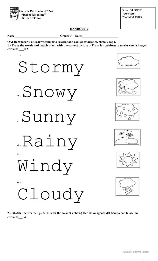 1st Grade Weather Worksheets Weather 1st Grade English Esl Worksheets for Distance