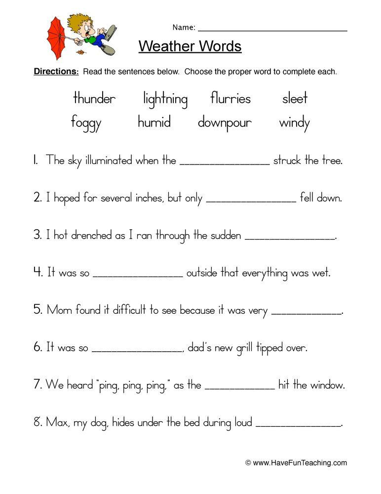 1st Grade Weather Worksheets Weather Fill In the Blank Worksheet In 2020