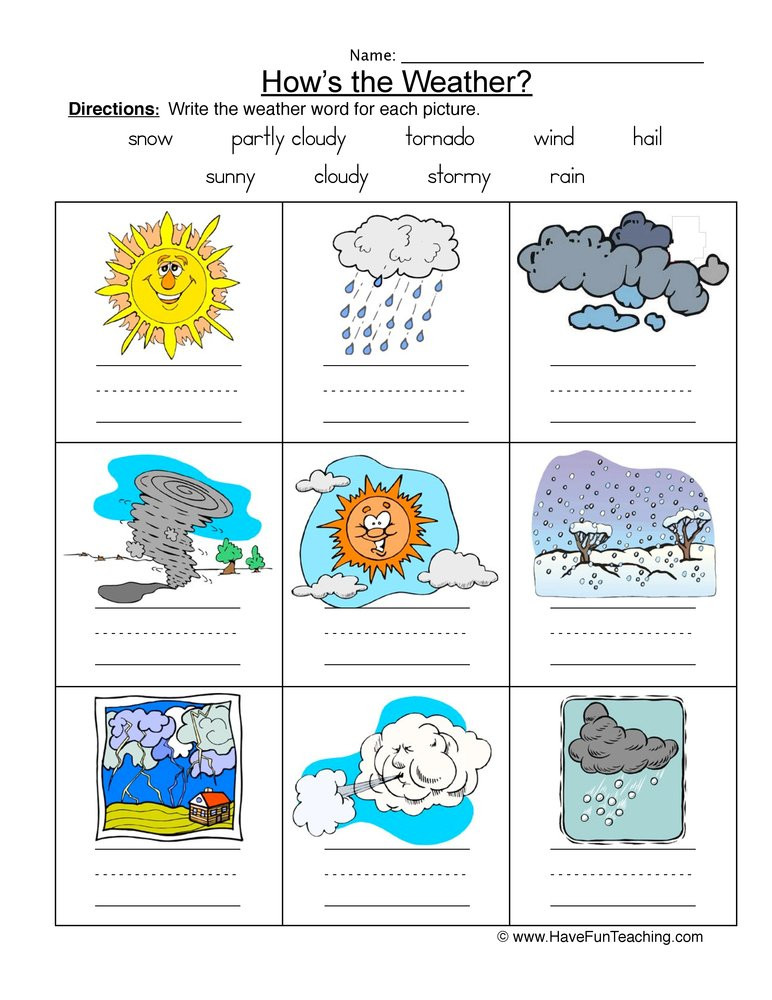 1st Grade Weather Worksheets Weather Names Worksheet