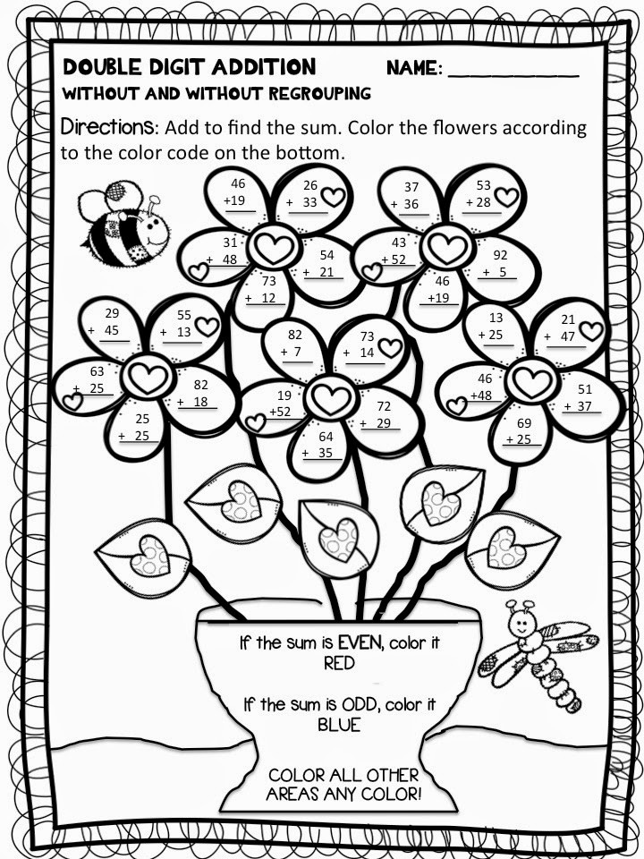 2 Digit Addition Coloring Worksheets Color by Number Addition Best Coloring Pages for Kids