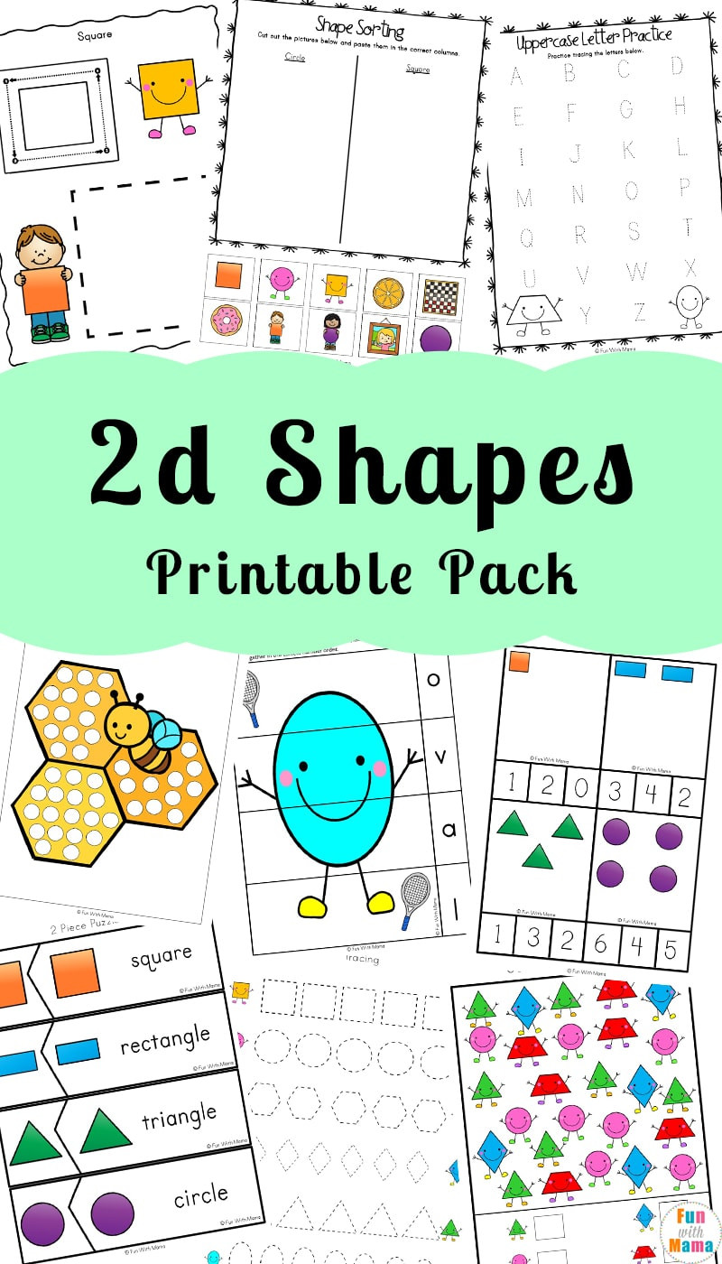 2d Shapes Worksheet Kindergarten 2d Shapes Worksheeets Fun with Mama