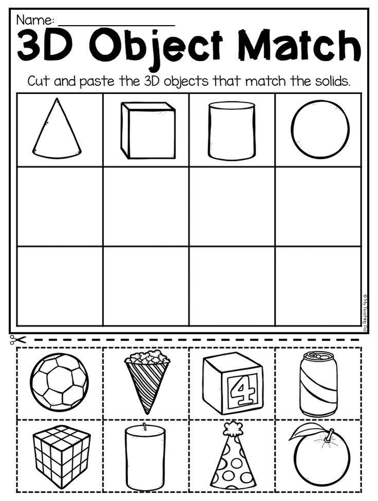 2d Shapes Worksheet Kindergarten Kindergarten 2d and 3d Shapes Worksheets Distance Learning