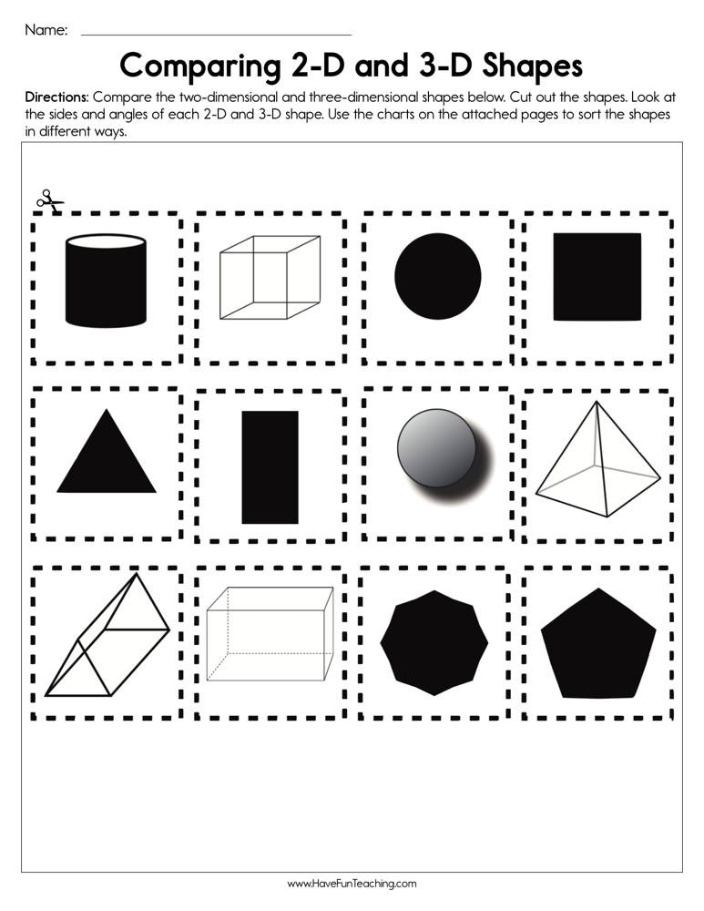 2d Shapes Worksheet Kindergarten Paring 2d and 3d Shapes Worksheet