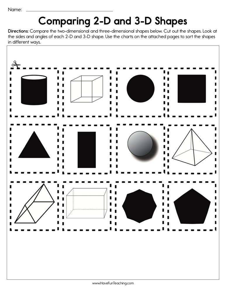 2d Shapes Worksheet Kindergarten Paring 2d and 3d Shapes Worksheet