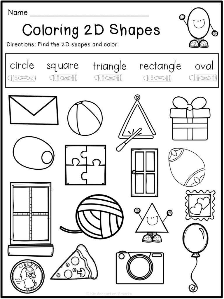 2d Shapes Worksheet Kindergarten Summer Review with A Freebie