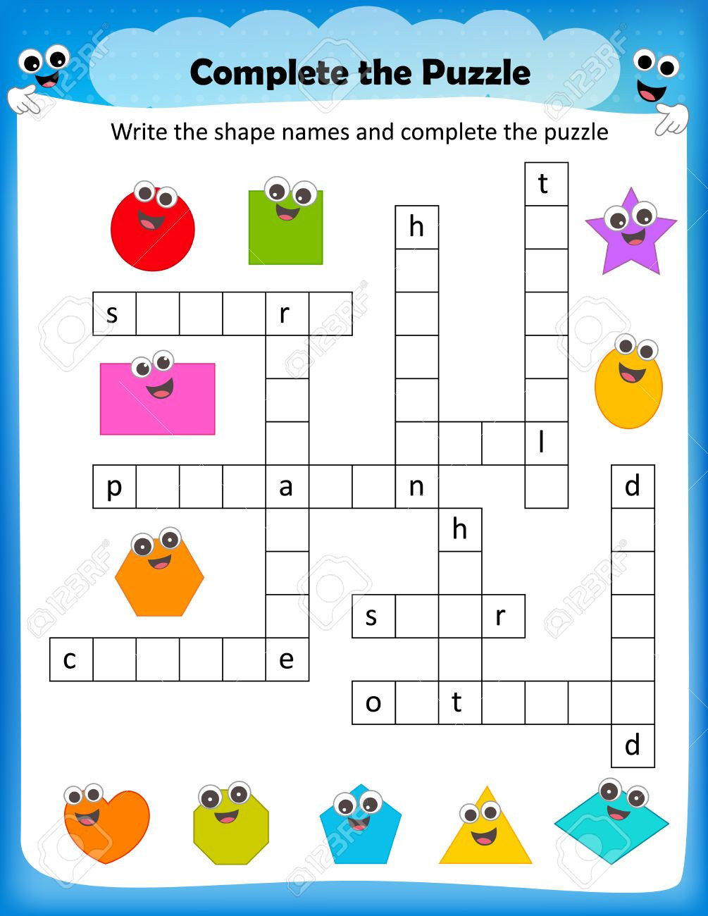 2d Shapes Worksheet Kindergarten Worksheet Plete the Crossword Puzzle 2d Shapes Worksheet