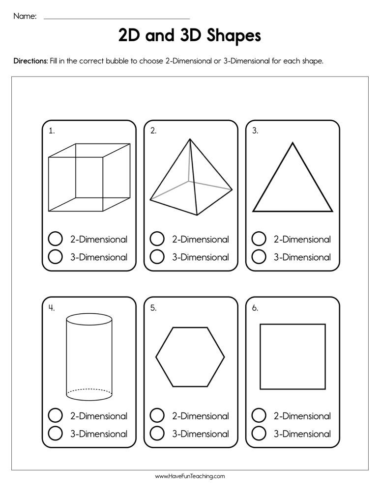 2d Shapes Worksheets Kindergarten 2d and 3d Shapes Worksheet