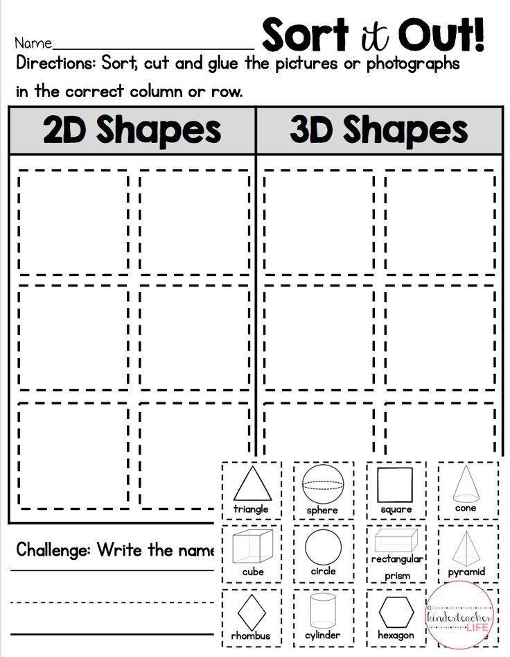 2d Shapes Worksheets Kindergarten 2d or 3d Shape sort