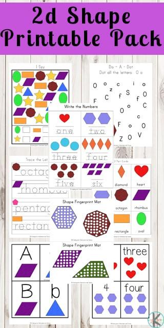 2d Shapes Worksheets Kindergarten Free 2d Shape Printables Pack