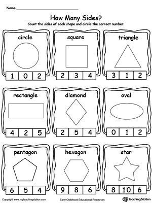 2d Shapes Worksheets Kindergarten Identifying and Counting Shape Sides