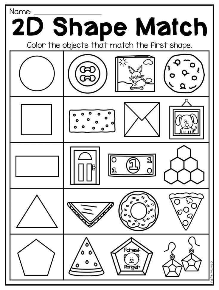 2d Shapes Worksheets Kindergarten Kindergarten 2d and 3d Shapes Worksheets Distance Learning