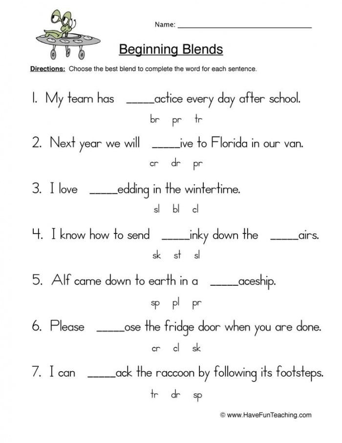 2nd Grade Consonant Blends Worksheets Beginning Blends 2 Worksheets