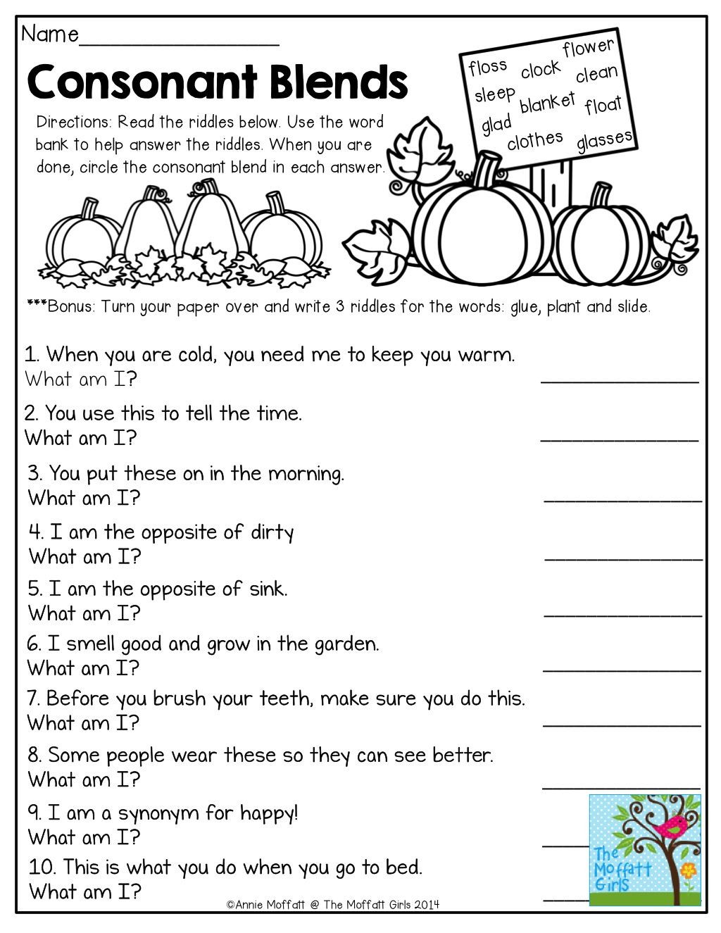 2nd Grade Consonant Blends Worksheets Consonant Blends Mystery Words Read the Clues and Write the