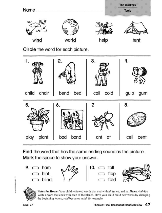 2nd Grade Consonant Blends Worksheets Phonics Final Consonant Blends Review Worksheet for 1st