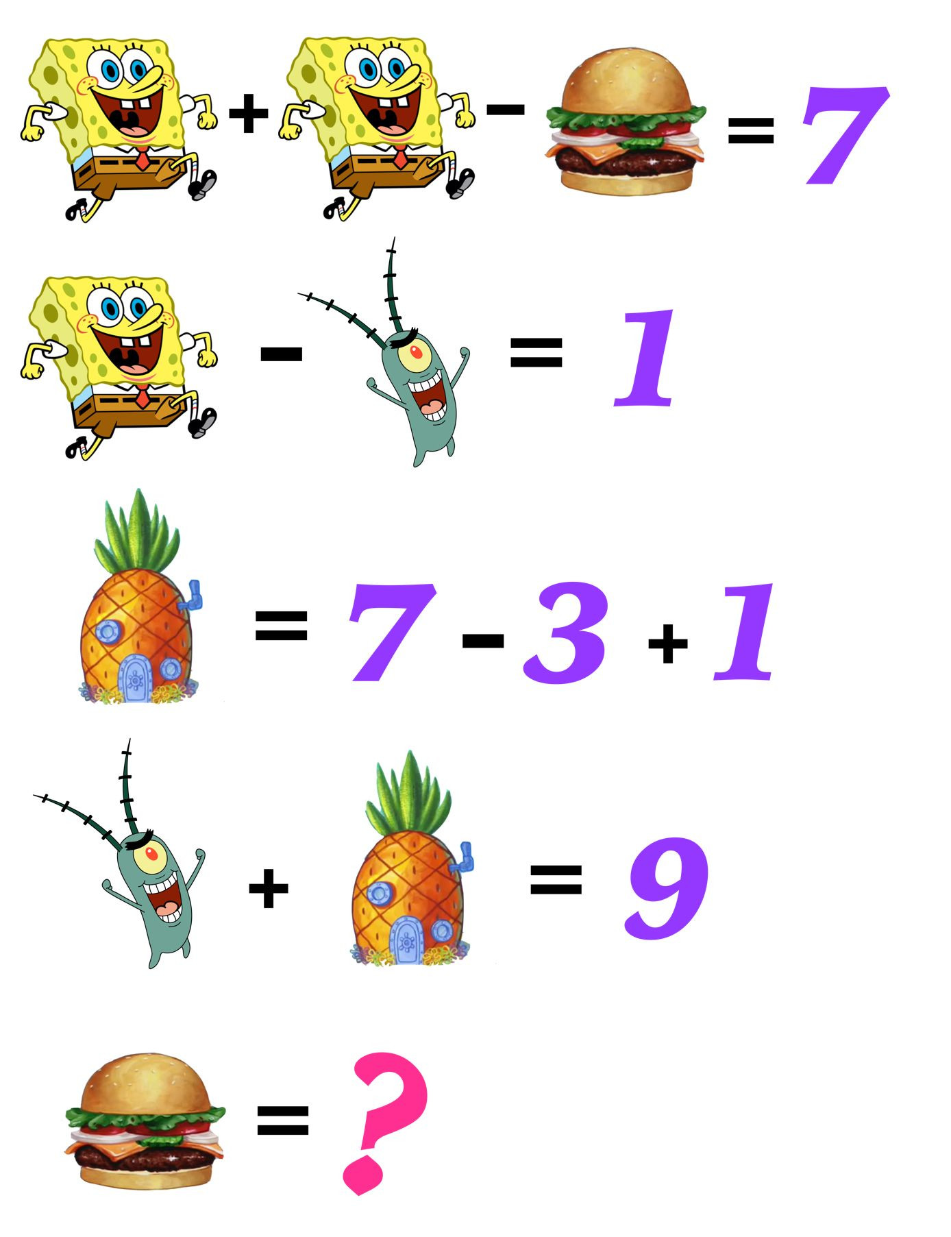 2nd Grade Math Challenge Worksheets Can Your Kids solve these Fun Free and Printable Spongebob