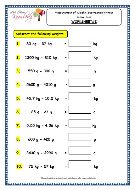 2nd Grade Math Worksheets Measurement Grade 3 Maths Worksheets 12 4 Measurement Of Weight