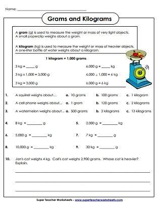 2nd Grade Math Worksheets Measurement Weight Grams and Kilograms Worksheets