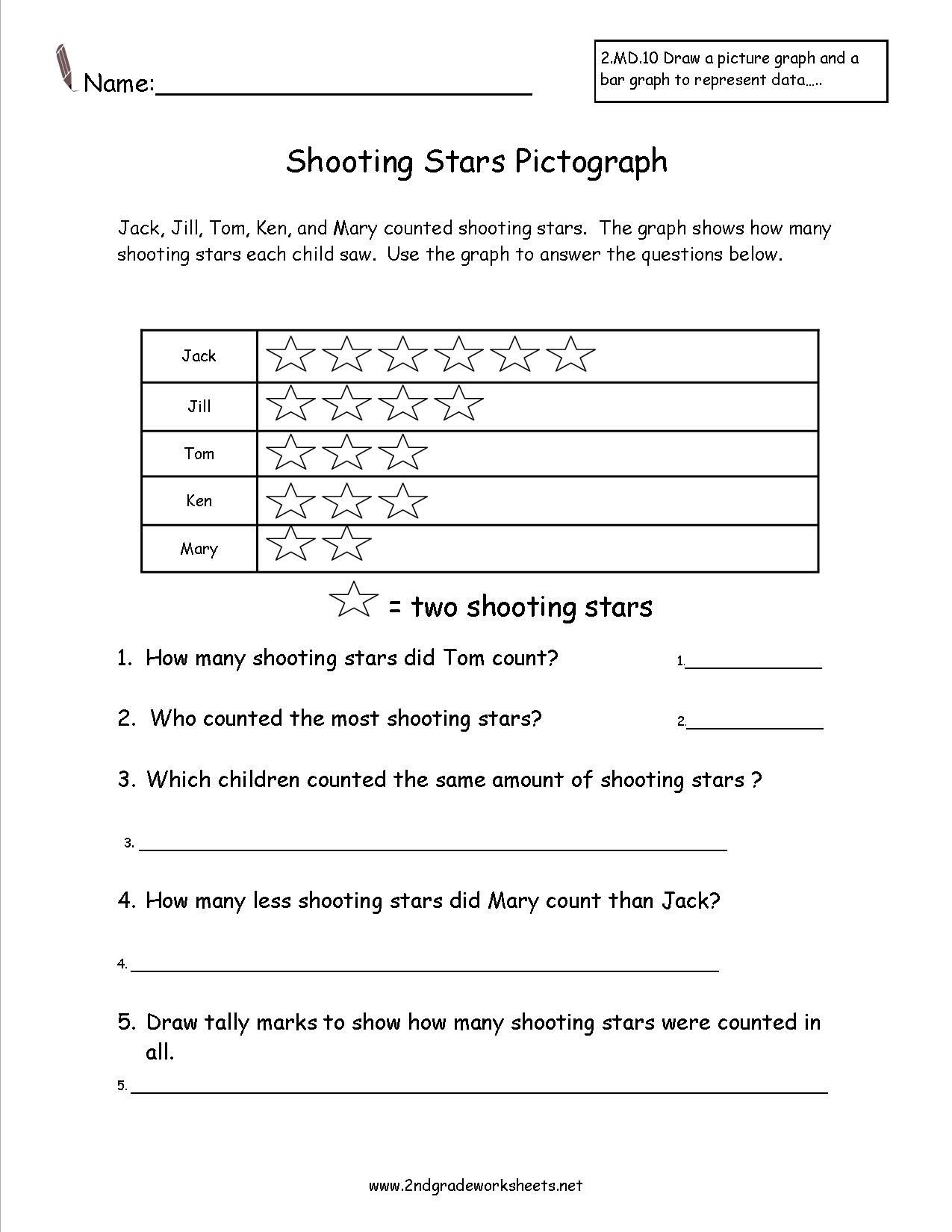 2nd Grade Pictograph Worksheets Shooting Stars Pictograph Worksheet